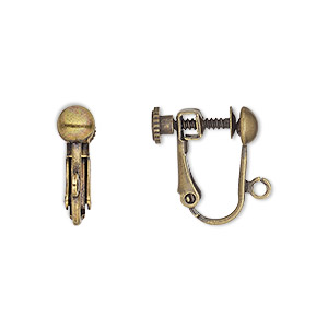 earring, clip-on, antique gold-plated brass, 15mm hinged screwback with 5mm half ball and open loop. sold per pkg of 5 pairs.