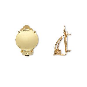 earring, clip-on, gold-plated brass and steel, 13mm round flat pad with 12mm 4-prong round setting. sold per pkg of 5 pairs.