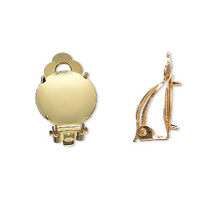 earring, clip-on, gold-plated brass and steel, 14mm round flat pad with 13mm 4-prong round setting. sold per pkg of 10 pairs.