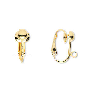 earring, clip-on, gold-plated steel, 16mm hinged with 5mm half ball and open loop. sold per pkg of 5 pairs.