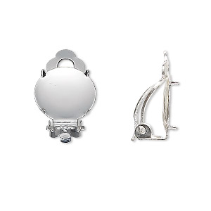 earring, clip-on, silver-plated brass and steel, 14mm round flat pad with 13mm 4-prong round setting. sold per pkg of 5 pairs.