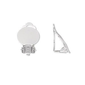earring, clip-on, silver-plated steel, 16mm hinged with 12mm round flat pad. sold per pkg of 5 pairs.