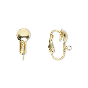 earring, clip-on,12kt gold-filled, 16mm leverback with 7mm half ball and open loop. sold per pair.