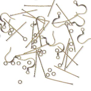 earring component mix, antique gold-plated brass, (12) 22 gauge earwires, (24) 1-inch 22-gauge headpins and (24) 4mm round 22-gauge jumprings. sold per pkg of 6 pairs.