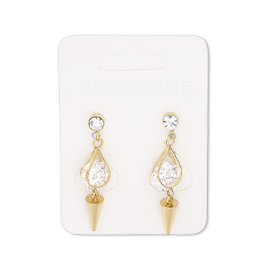 earring, cubic zirconia / glass rhinestone / gold-finished stainless steel, clear, 34.5mm with cone and post. sold per pair.