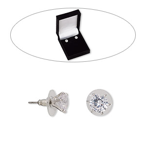 earring, cubic zirconia / stainless steel / rhodium-finished brass, clear, 9mm round with post. sold per pair.