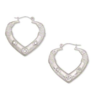 earring, czech crystal and imitation rhodium-finished steel, clear, 36mm brushed open heart with 3 heart / rope / beaded design. sold per pair.