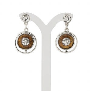 earring, enamel / glass rhinestone / antique silver-plated steel / pewter (zinc-based alloy), brown and clear, 38mm with flat round and fancy ring with post. sold per pair.