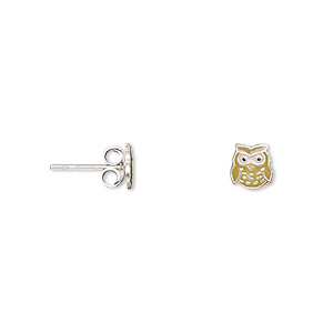earring, enamel and sterling silver, multicolored, 6x5mm owl with post. sold per pair.