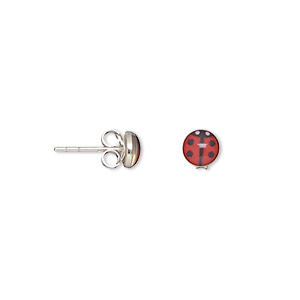 earring, enamel and sterling silver, red and black, 5x5mm ladybug with post. sold per pkg of 2 pairs.