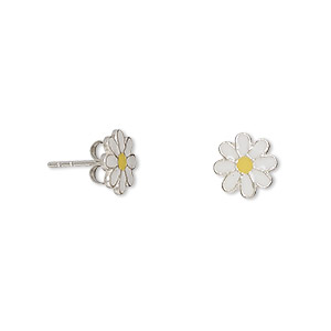 earring, enamel and sterling silver, white and yellow, 8x8mm daisy with post. sold per pair.