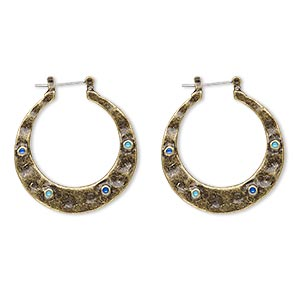 earring, enamel with antiqued brass-finished steel and pewter (zinc-based alloy), blue and turquoise blue, 1-1/2 inch round hoop with latch-back closure. sold per pair.