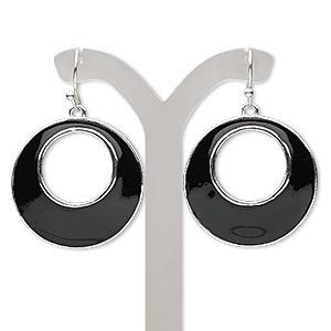 earring, enamel with silver-finished steel and pewter (zinc-based alloy), black, 38mm with round go-go and fishhook earwire. sold per pair.