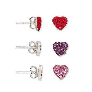 earring, ferido / sterling silver / crystal rhinestone, red / pink / purple, 7x7mm heart with post. sold per pkg of 3 pairs.