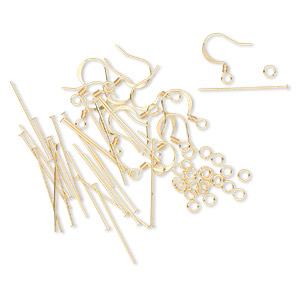 earring finding set, gold-plated brass, (12) 16mm 22-gauge fishhook earwires, (24) 1-inch 22-gauge headpins, (24) 4mm round 22-gauge jumprings. sold per set.