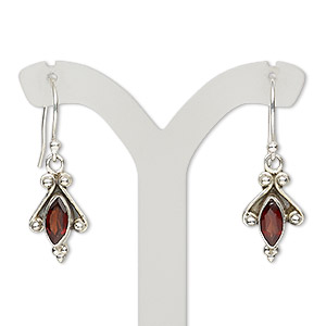 earring, garnet (natural) and antiqued sterling silver, 30mm with fishhook earwire, 21 gauge. sold per pair.