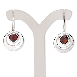 earring, garnet (natural) and sterling silver, 29mm with 7x7mm faceted teardrop and fishhook earwire. sold per pair.
