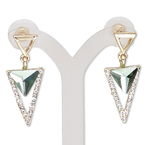 earring, glass / glass rhinestone / stainless steel / gold-finished pewter (zinc-based alloy), green and clear, 34.5mm with triangle and post. sold per pair.