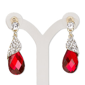 earring, glass / glass rhinestone / stainless steel / gold-finished pewter (zinc-based alloy), red and clear, 34mm with teardrop and post. sold per pair.