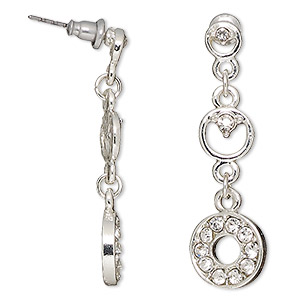 earring, glass rhinestone / stainless steel / antique silver-finished pewter (zinc-based alloy), 1-1/2 inches with circles and post. sold per pair.