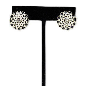 earring, glass rhinestone with gold-finished steel and pewter (zinc-based alloy), black / white / clear, 20x20mm flower with post. sold per pair.