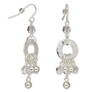 earring, glass rhinestone with silver-finished steel, clear, 2-1/2 inches with round and fishhook earwire. sold per pair.