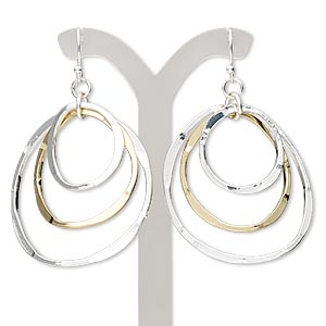 earring, gold- and silver-finished steel, 2-1/2 inches with wavy multi-circle and fishhook earwire. sold per pair.