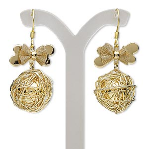 earring, gold-finished brass and steel, 44mm with bow and wire-wrapped round with fishhook earwire. sold per pair.