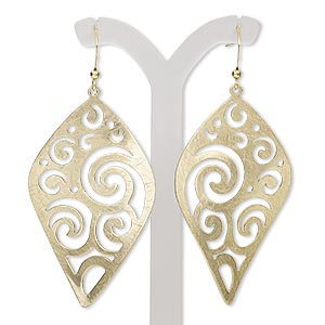 earring, gold-finished steel and brass, 2-3/4 inches with brushed wavy diamond and swirl cutout design with fishhook earwire. sold per pair.
