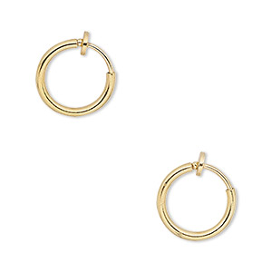 earring, gold-plated brass, 13mm round hoop with pierced-look spring closure. sold per pair.