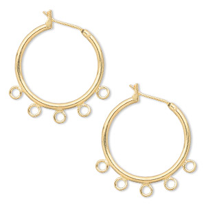earring, gold-plated brass, 23mm round hoop with 5 closed loops and latch-back closure. sold per pkg of 5 pairs.