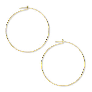 earring, gold-plated brass, 25mm round hoop. sold per pkg of 250 pairs.