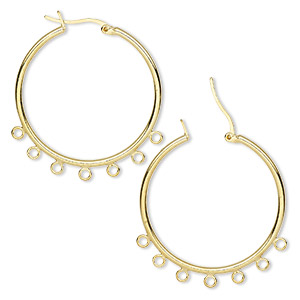 earring, gold-plated brass, 32mm round hoop with 7 closed loops and latch-back closure. sold per pkg of 50 pairs.