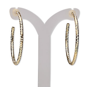 earring, gold-plated brass, 32mm textured round hoop. sold per pair.