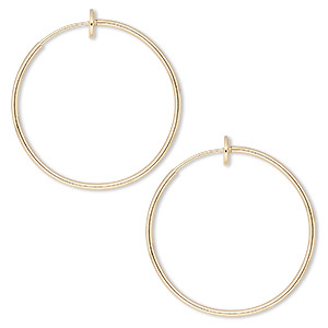 earring, gold-plated brass, 35mm round hoop with pierced-look spring closure. sold per pair.