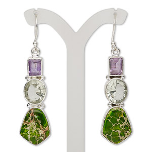 earring, green quartz (heated) / amethyst / magnesite (dyed / stabilized) / sterling silver, apple green, 2-1/2 inches with fishhook earwire, 21 gauge. sold per pair.