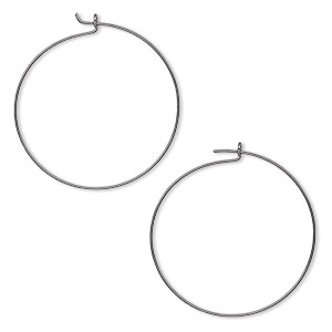 earring, gunmetal-plated brass, 25mm round hoop. sold per pkg of 250 pairs.