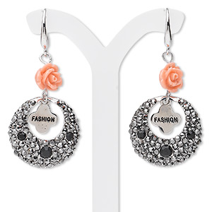 earring, imitation rhodium-finished pewter (zinc-based alloy) / czech glass rhinestones / acrylic, clear / black / pink, 32x23mm round go-go with fashion dangle and rose. sold per pair.