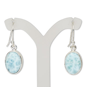 earring, larimar (natural) and sterling silver, 33mm with oval and fishhook earwire, 21 gauge. sold per pair.