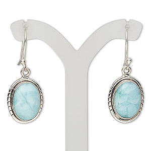 earring, larimar (natural) and sterling silver, 35mm with oval and fishhook earwire, 21 gauge. sold per pair.