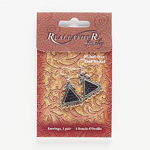 earring, leather and antiqued silver-finished pewter (zinc-based alloy), black, 1-1/2 to 1-3/4 inches with double-sided triangle and leaf design with 5 loops and fishhook earwire. sold per pair.