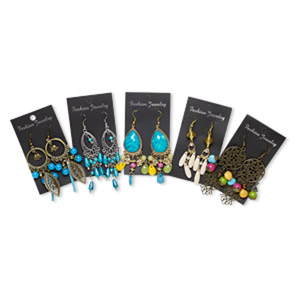 earring mix, acrylic / gold- / imitation rhodium- / antique brass-coated plastic / gold-finished / imitation rhodium- / antique brass-plated steel / pewter (zinc-based alloy), mixed colors, 2-1/2 to 4-1/2 inch fishhook with mixed shape. sold per pkg of 5 pairs.