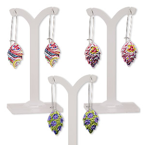 earring mix, color film with imitation rhodium-plated steel and pewter (zinc-based alloy), multicolored, 2-1/4 inches with leaf and kidney earwire. sold per pkg of 3 pairs.