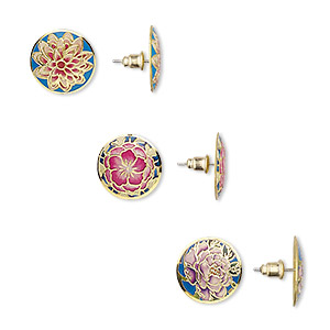 earring mix, enamel / steel / antique brass-plated brass, multicolored, 20mm round with flower design and post. sold per pkg of 3 pairs.
