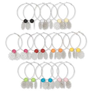 earring mix, imitation rhodium-finished steel and acrylic, mixed colors, 11mm round and 23mm filigree flowers, 50mm round hoops with hinge closures. sold per pkg of 10 pairs.