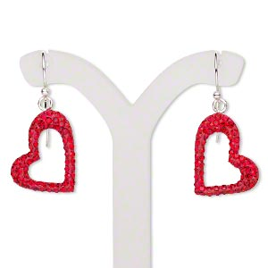 earring, preciosa glass rhinestone / epoxy / sterling silver, red, 30mm with 18x14mm single-sided open heart and fishhook earwire. sold per pair.