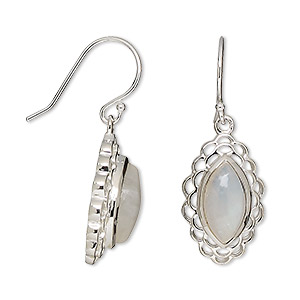 earring, rainbow moonstone (natural) and sterling silver, 33mm with 12x6mm marquise and fishhook earwire. sold per pair.