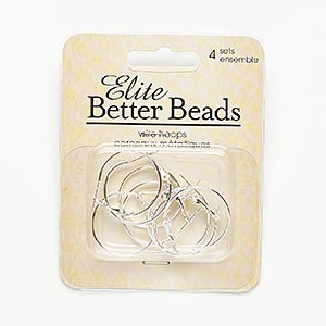 earring, silver-finished steel, 23mm round hoop. sold per pkg of 4 pairs.