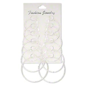 earring, silver-finished steel, 27-49mm etched round hoop with hinged closure. sold per pkg of 6 pairs.