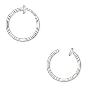 earring, silver-plated brass, 17mm round hoop with pierced-look spring closure. sold per pair.